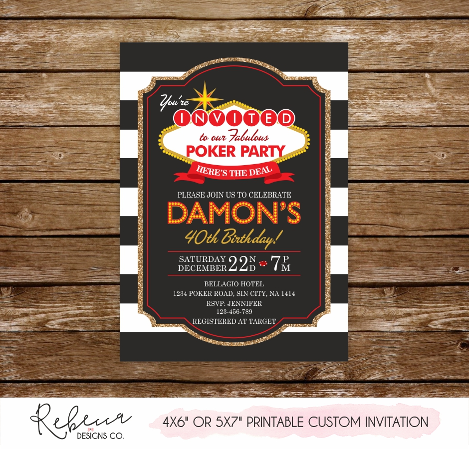 Vegas Birthday Invitation O Printable Custom Design
