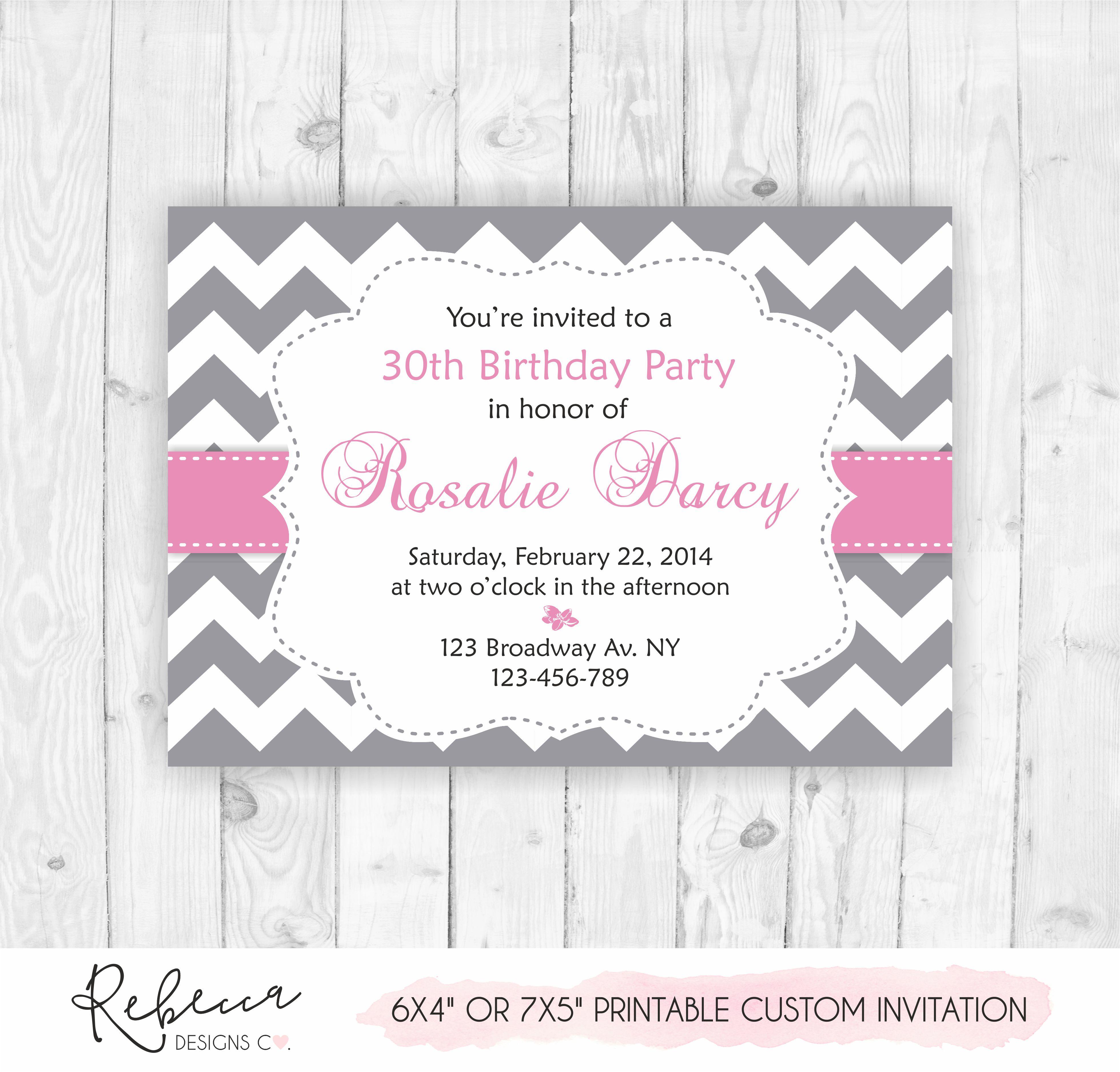Gray And Pink Birthdau Invitation O Printable Custom Design