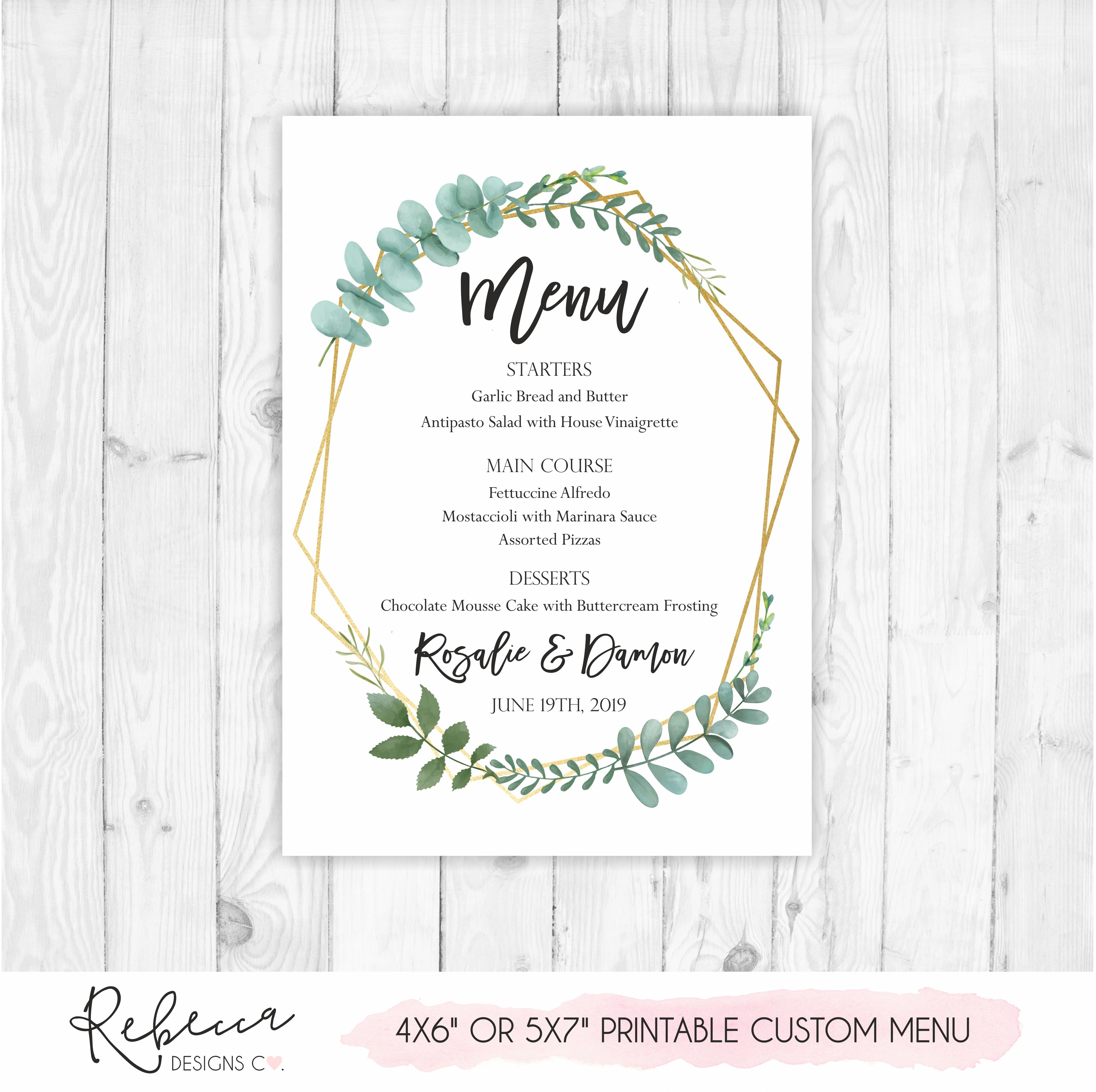 photo regarding Menu Printable identified as Greenery marriage menu Printable custom made design and style