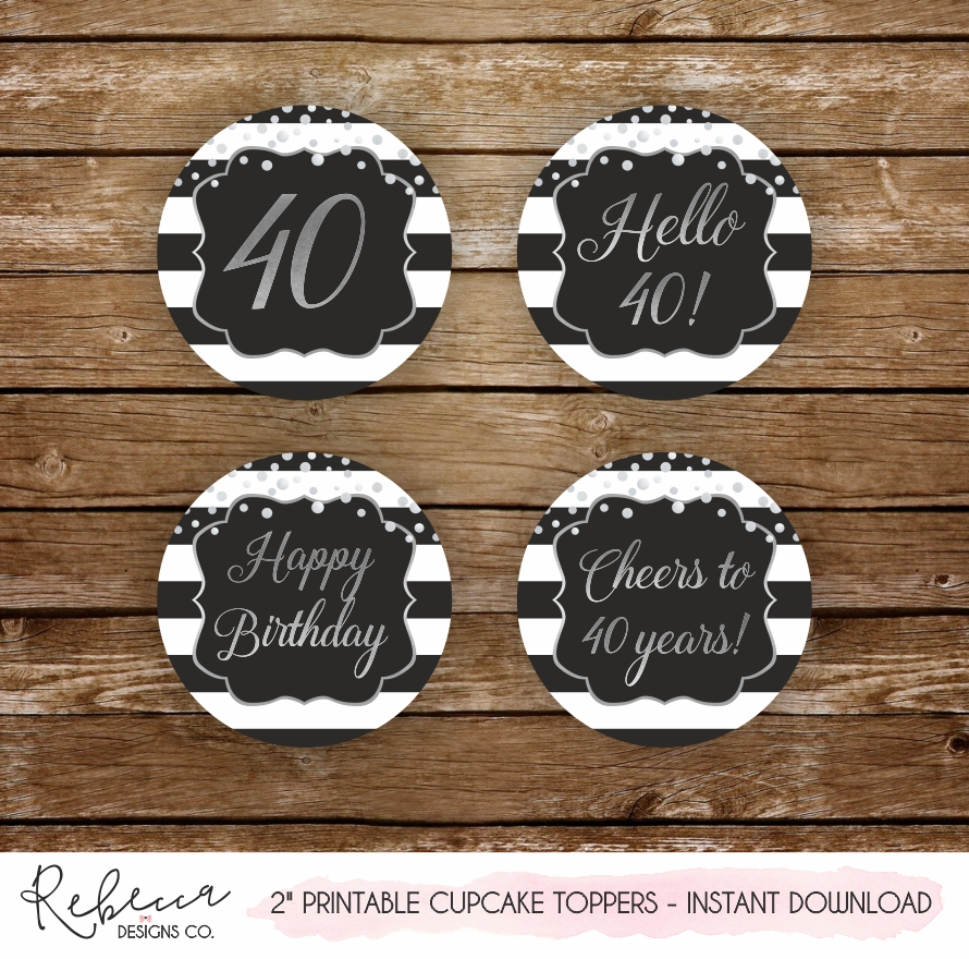 picture regarding Printable Cupcakes Toppers identify 40th birthday printable cupcake toppers Prompt down load