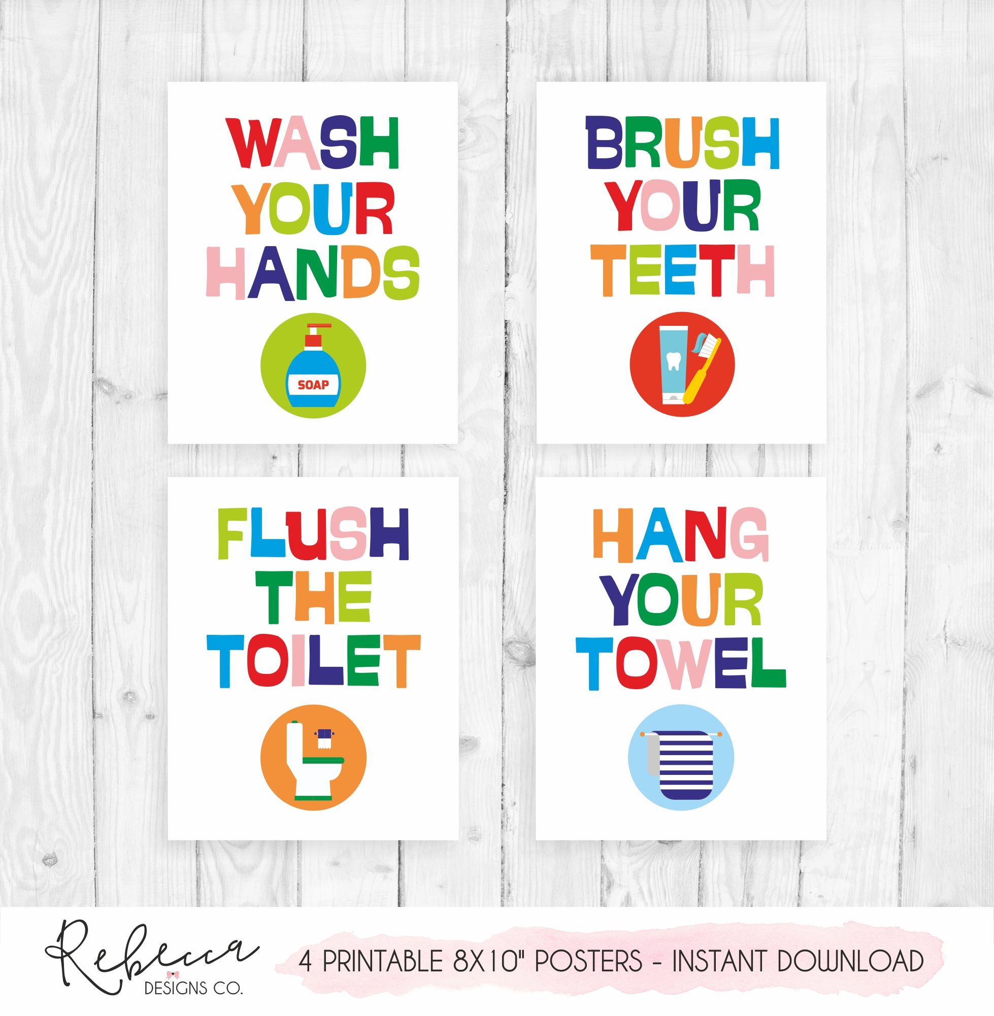 picture relating to Printable Posters identified as Young children rest room printable posters Immediate obtain