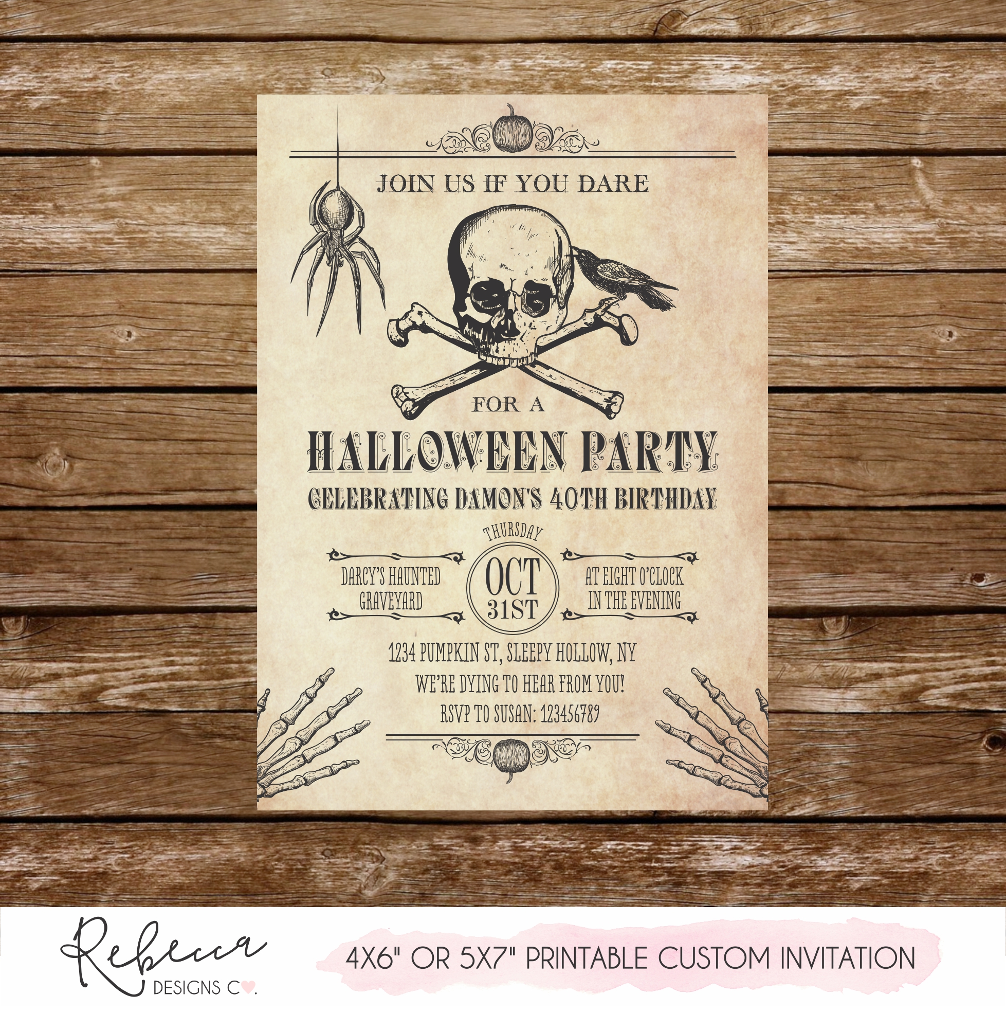 image about Halloween Invitation Printable referred to as Halloween birthday social gathering invitation Printable tailor made style