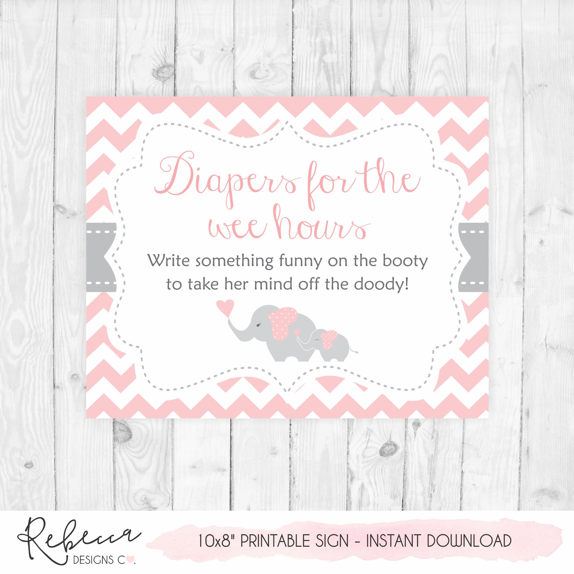 Diaper Thoughts Pink Baby Shower Game Late Night Diapers Game Printable Diapers For The Wee Hours Baby Shower Sign Elephant Baby Shower Pink Elephant Elephant Baby Shower Game